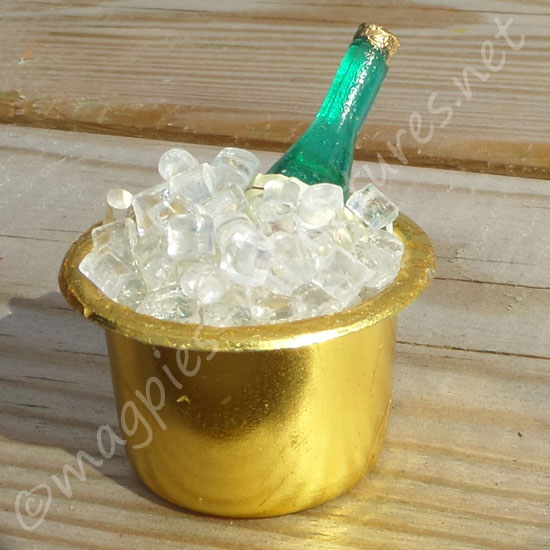 Ice Bucket with Ice and Bottle
