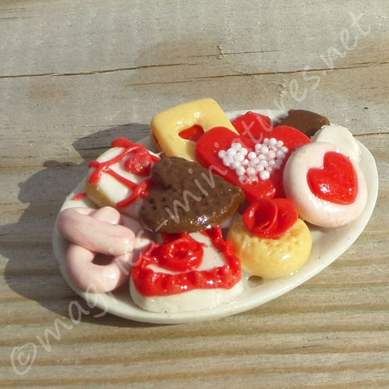 Valentines Biscuits on a plate