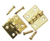 Brass Door Hinge/Nail 6pc/pkg