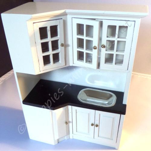 Kitchen white cream corner unit