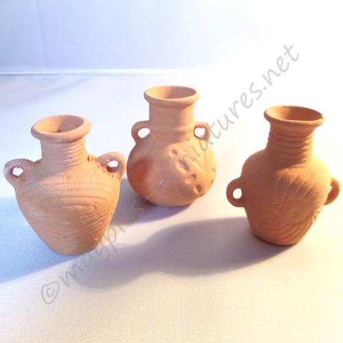 3 Terracotta Amphora Planting Pots