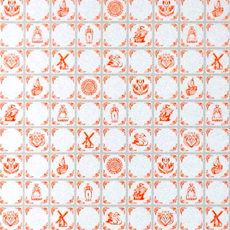 Terracotta delft tile wallpaper
