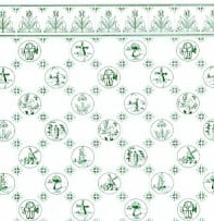 24th Scale Wallpaper Dutch Tile,  Green on White background