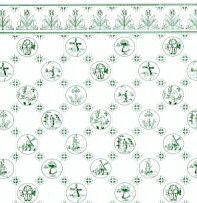 Dutch Tile,  Green on White background