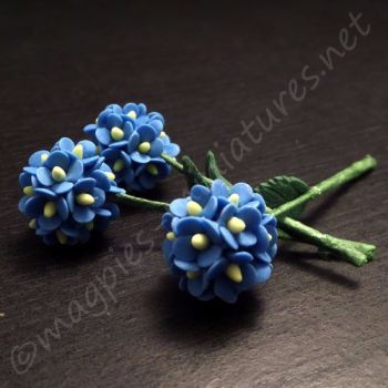 Blue Flower Stems-  Hydrangeas, 3 pcs 55mm