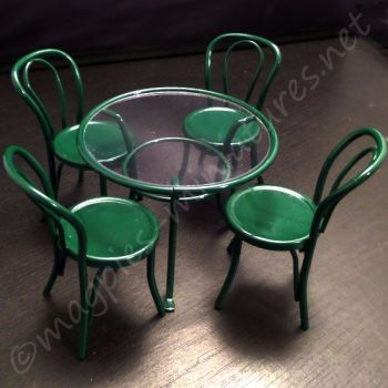 Green patio bistro set