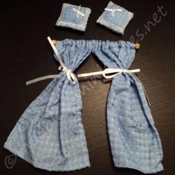Blue curtain and cushion set