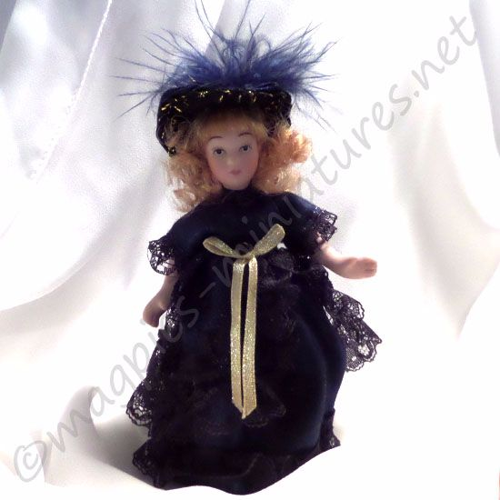 Doll - Child - Victorian girl in blue dress