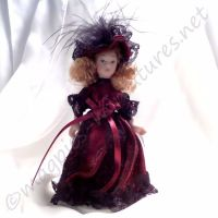 Doll - Child - Victorian girl in red dress