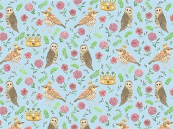 Bird and Owl Blue Wallpaper