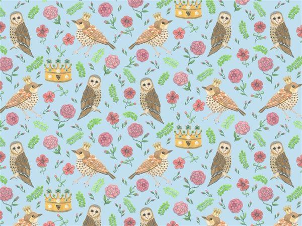Bird and Owl Blue Wallpaper