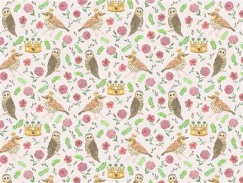 Bird and Owl White Wallpaper
