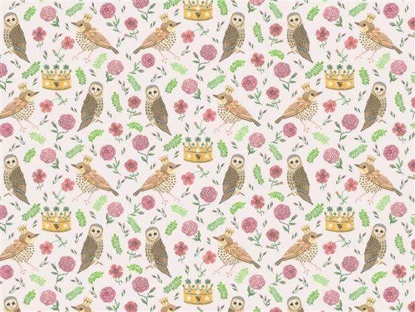 Bird and Owl White Wallpaper