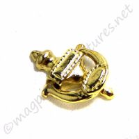 Gold coloured metal door knocker - working