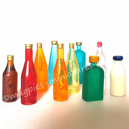 Coloured Bottles set of 10 - Set 3