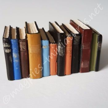 Row of worn books, (long)