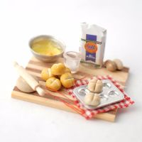 bread making ingredients and board