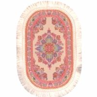 Pink and Cream oval rug