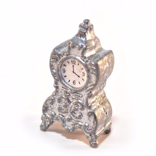 Silvery white mantle clock