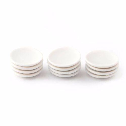Ceramic white dinner plates - set of 12