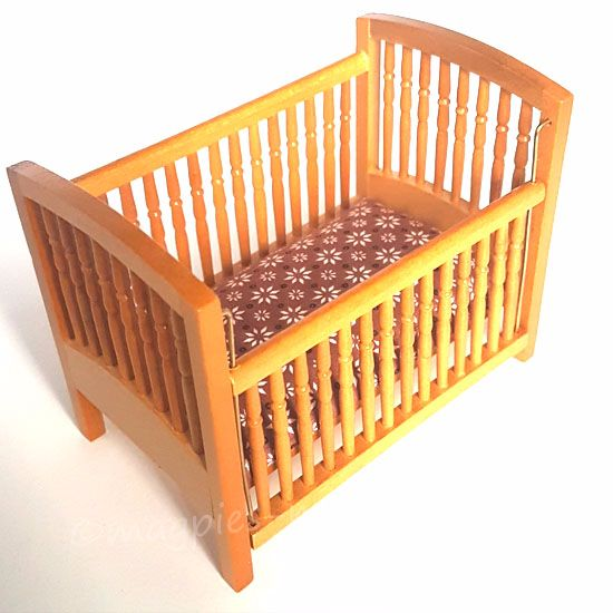 Pine cot with drop side
