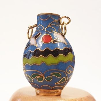 Tall Blue and Red #8 Dolls House 12th scale Cloisonne Vase