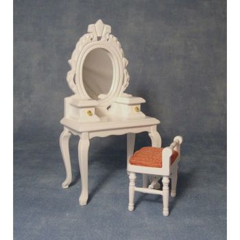 White dressing table and stool