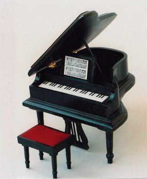 Grand piano and stool - black