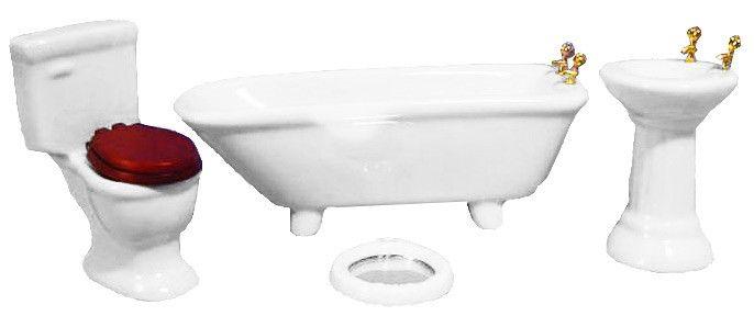 4 Piece White Bathroom Set - Ceramic
