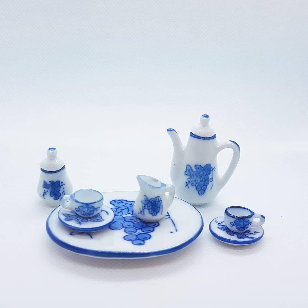 Coffee set - blue floral