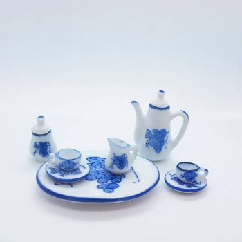 Coffee set - blue floral