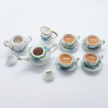 "Tea Set - ""Forget me not"" floral. FILLED"