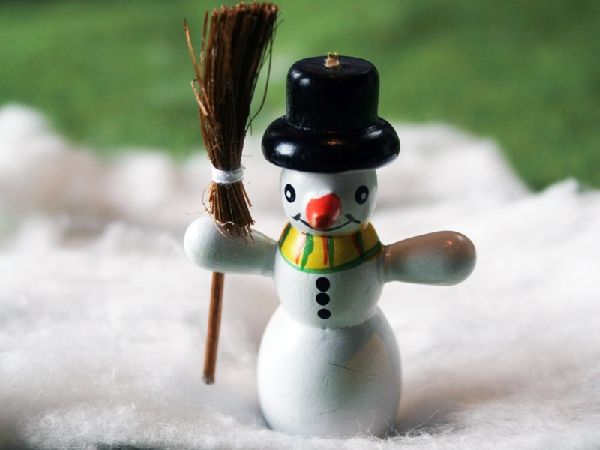"""Jolly 2"""" Snowman with Broom"""