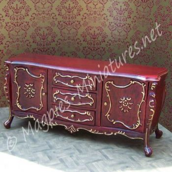 Gold Detailed Mahogany Sideboard