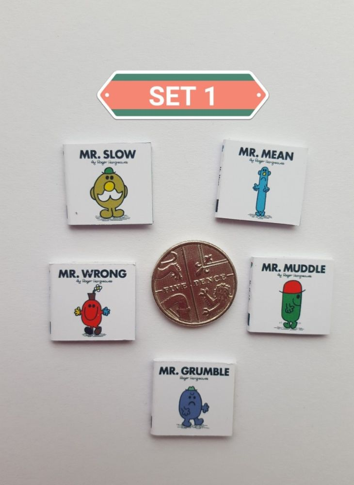 5 X DOLLS HOUSE MINIATURE MR MEN BOOKS
