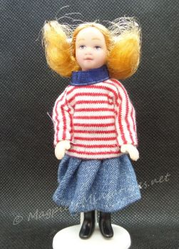 Child - Girl - Modern Girl in Striped Sweater