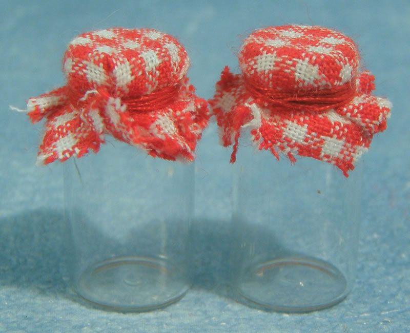 Set of 2 Glass Jars with fabric lid - Jam Jars