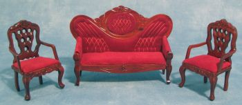 Sofa and Two Chairs in Red Upholstery-1:24/24th scale