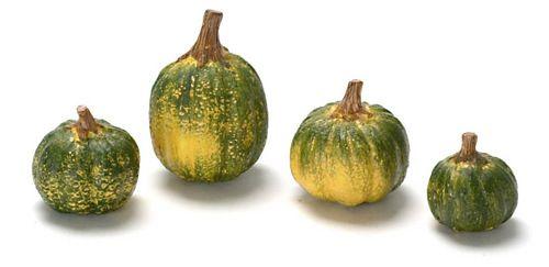 Set of 4 Green Halloween pumpkins