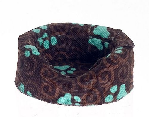 Cozy Fabric Dog Bed - Brown Paw Prints