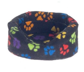 Cozy Fabric Dog Bed - Black Paw Prints