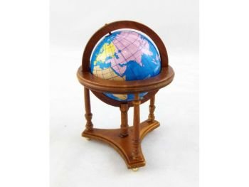 Walnut Floor Standing World Globe