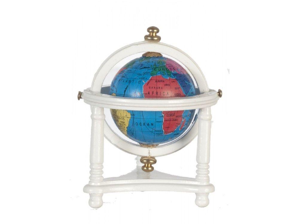 White Floor Standing World Globe