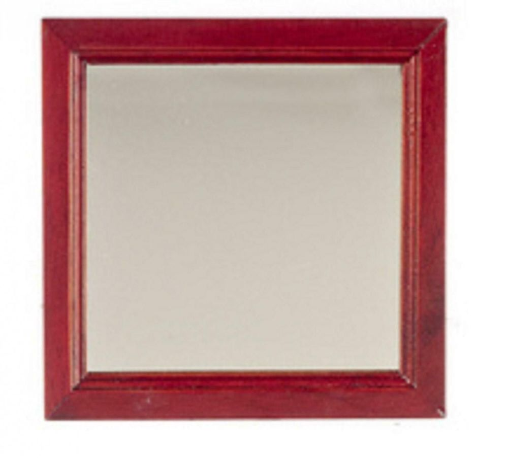 Large Square Mahogany Wooden Framed Wall Mirror
