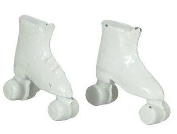 Pair of White Metal Roller skates