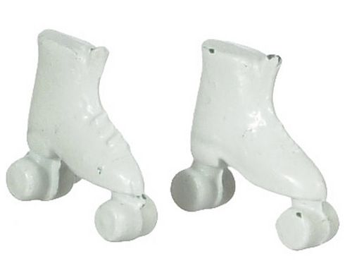 Pair of White Metal Roller skates