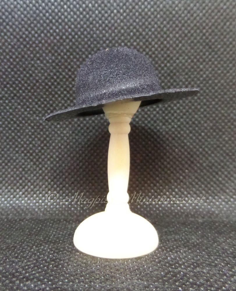 Mans Hat - Black Round Top