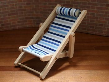 Blue Stripe Luxury Deck Chair - Collapsible