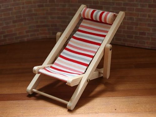 Red Stripe Luxury Deck Chair - Collapsible