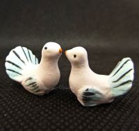 Pair of Decorated Turtle Dove Ornaments